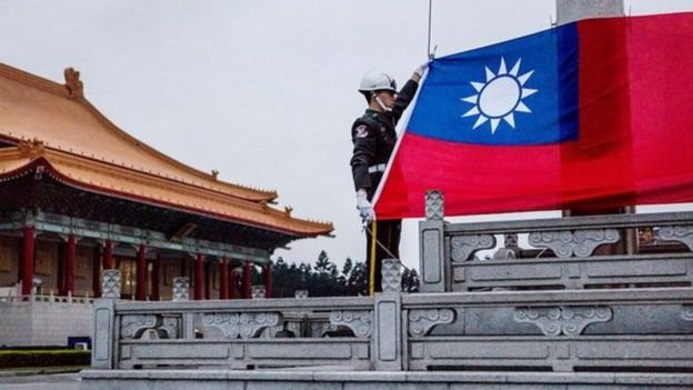 Taiwan's government was set up by the Kuomintang, whose party logo is reflected in Taiwan's flag