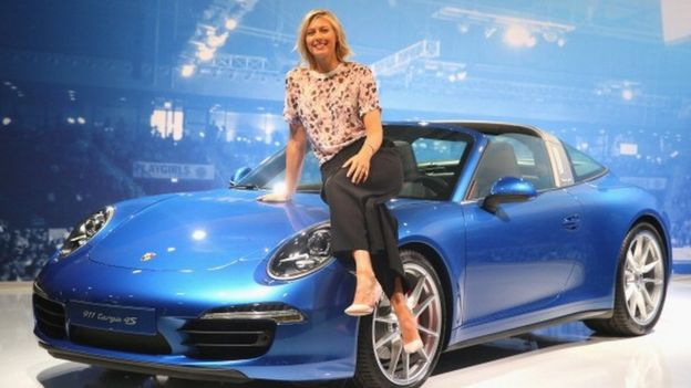 Maria sharapova with a car