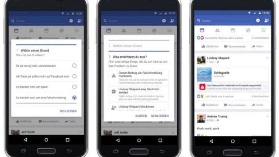 Screenshots of Facebook fake news tools