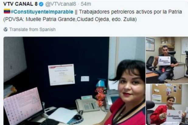 A tweet by state-run media channel VTV shows petroleum workers in their offices