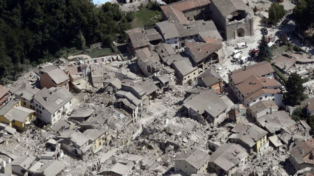 Quake damage in Amatrice (24 August 2016)