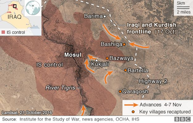 Map showing government forces advances around the Iraqi city of Mosul