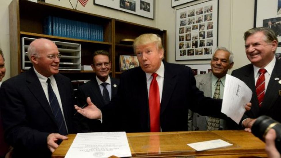 Trump durante as primárias em New Hampshire