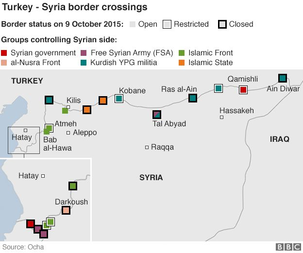 Map showing border crossings between Syria and Turkey and which group controls them - 14 October 2015