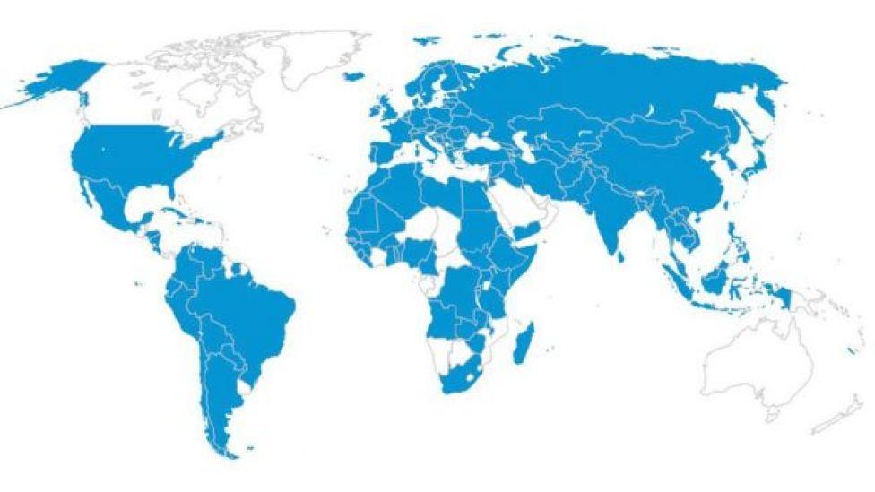 Mapa de vítimas de tráfico no mundo