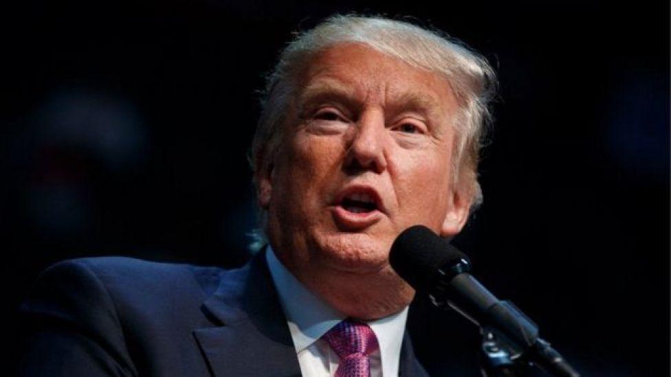 Donald Trump fala ao microfone