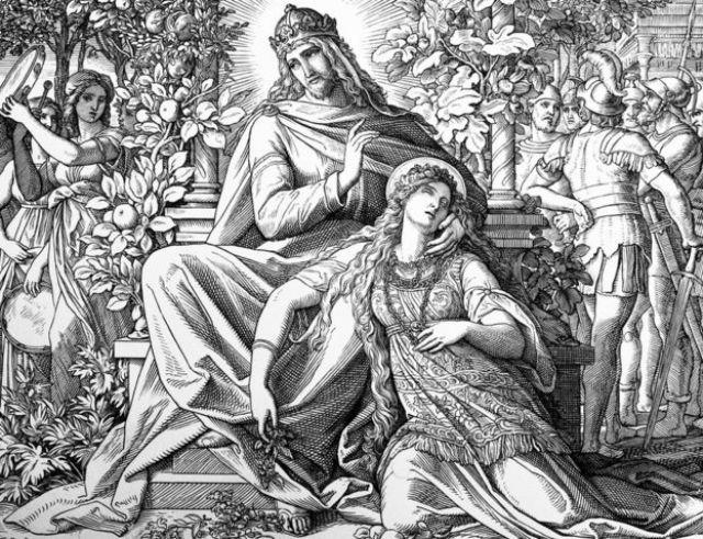 Grabado del pintor alemán Julius Schnorr von Carolsfeld del rey Salomón