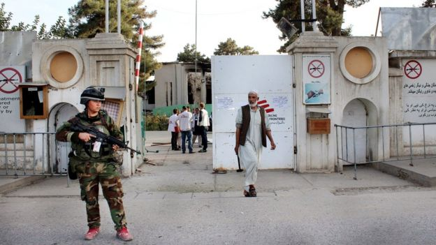 An Afghan soldier guards a Doctors Without Borders hospital in Kunduz