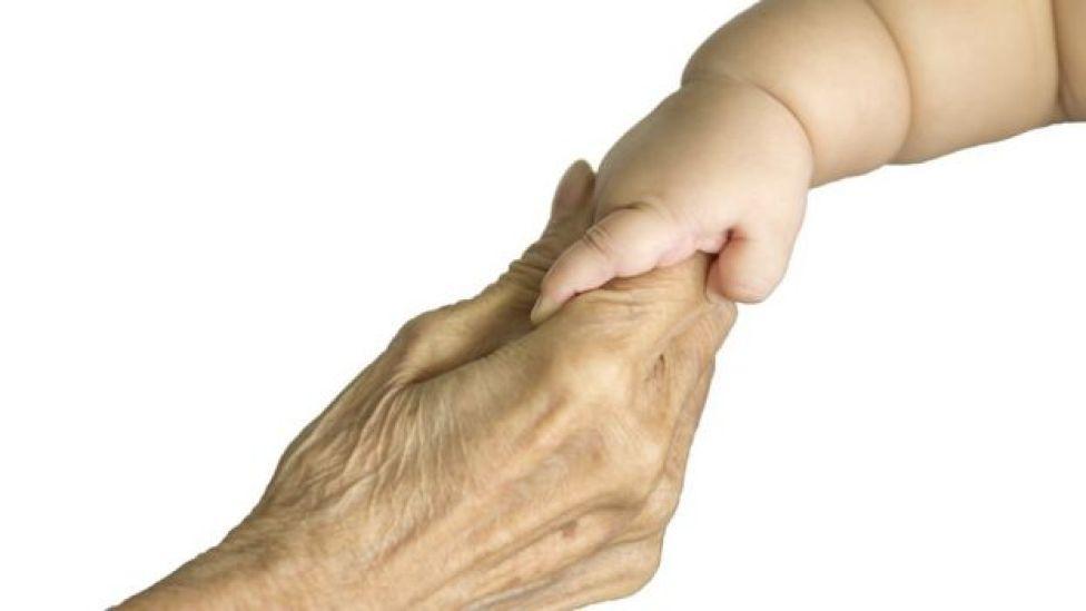 mano de abuela y bebé