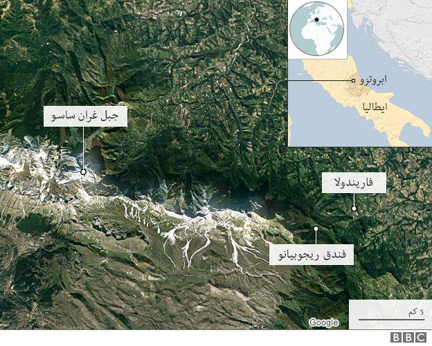 خارطة لمكان حدوث الانهيار الجليدي