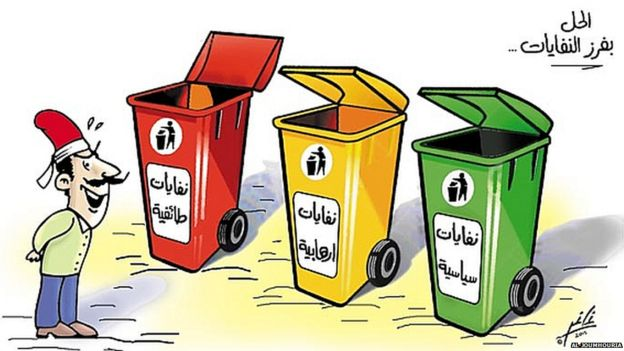 Cartoon from Al-Joumhouria newspaper depicting a man standing in front of three rubbish bins