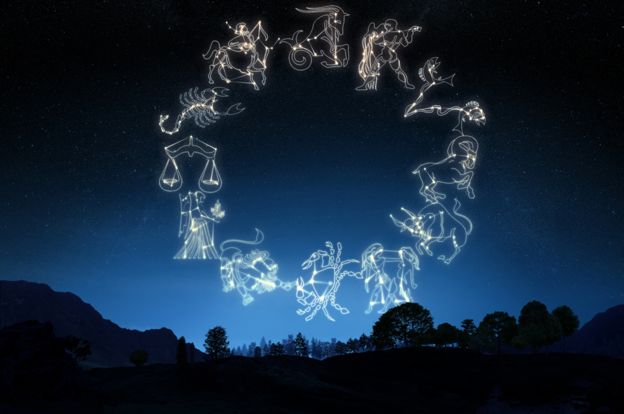 Zodiac symbols in the night sky