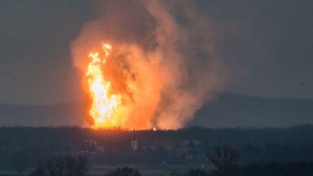 Fire at Austria's main gas pipeline hub at Baumgarten, Eastern Vienna, 12 December