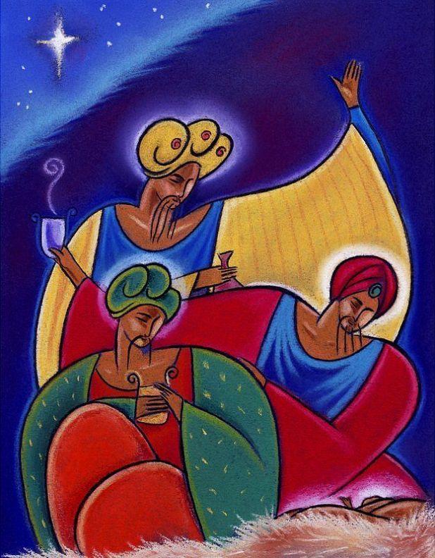 Los Reyes Magos pintados con mucho color