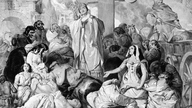Ilustración sobre la peste negra