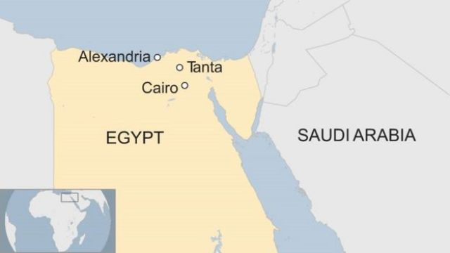 A map showing Tanta and Alexandria