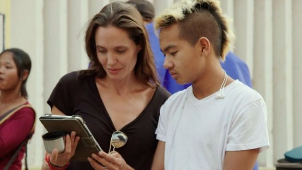 Angelina Jolie and her son, Maddox
