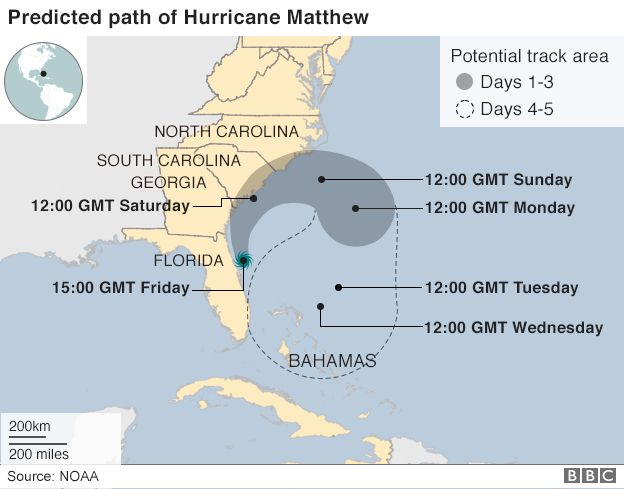 A map showing Hurricane Matthew's path