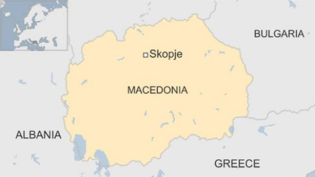 Map of Macedonia, showing location of capital Skopje