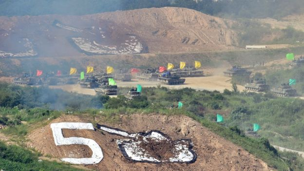 South Korean tanks participate in a joint live firing drill between South Korea and the US at the Seungjin Fire Training Field in Pocheon, 65 kms northeast of Seoul, on August 28, 2015.