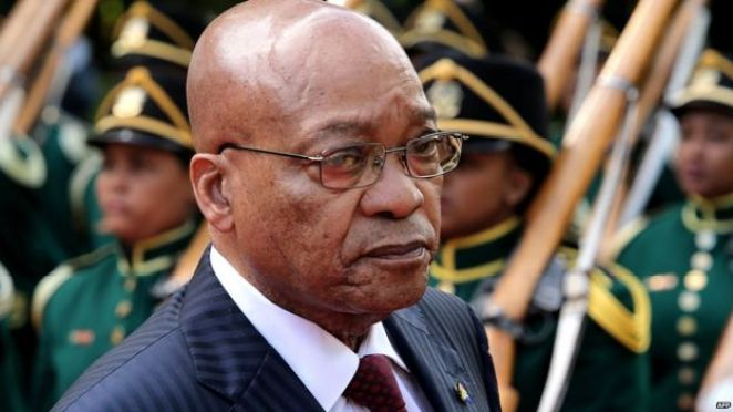 South African President Jacob Zuma takes part in a ceremony to commemorate the centenary of the Battle of Delville Wood in northern France in which South African troops fought in 1916, on July 12, 2016 in Longueval.