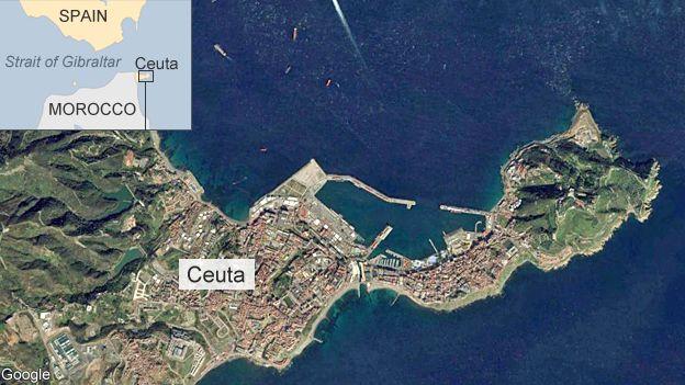 Satellite image of Ceuta