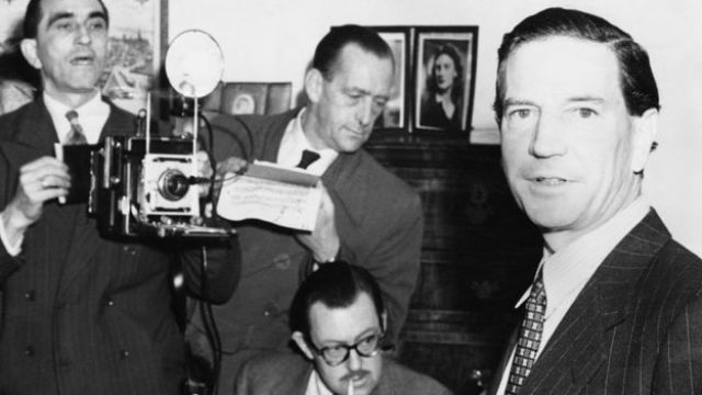 Kim Philby holds a press conference at his mother's home in Drayton Gardens, London, 8 November 1955