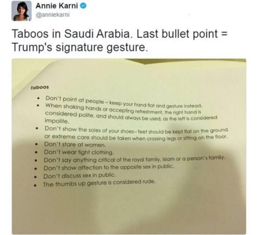 وزعت السفارة الأمريكية في الرياض على الصحفيين وثيقة تضمنت توصيات أثناء تغطية زيارة ترامب