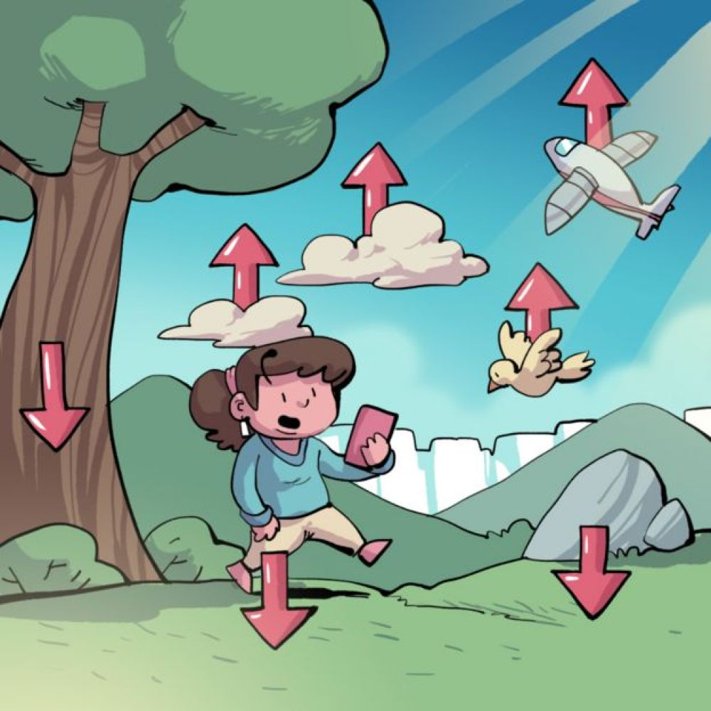 Ilustração mostrando 'vetores' de densidade entre diferentes objetos em uma paisagem ao ar livre
