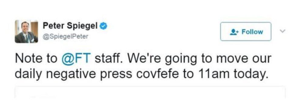 英紙フィナンシャル・タイムズの編集局長は、「FTスタッフへ。毎日定例のネガティブ・マスコミcovfefeを今日は午前11時に変更」とツイートした
