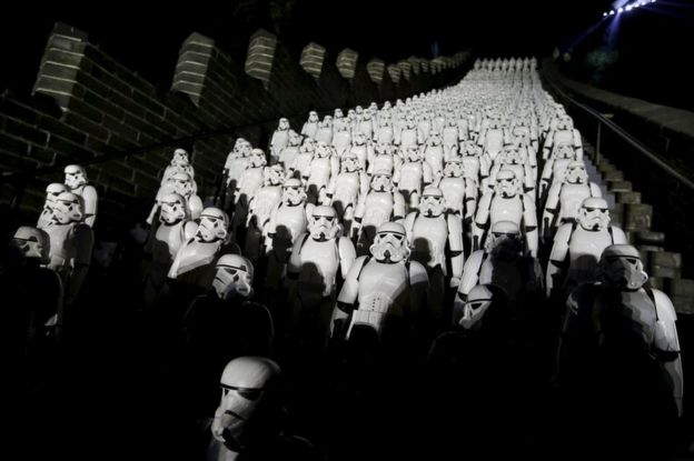 Stormtroopers line the Great Wall of China