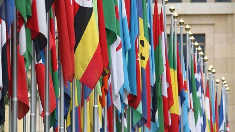 Banderas en la ONU en Ginebra