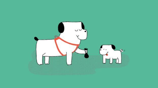 Animación de un perro limpiando su propio excremento.