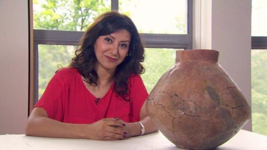 Anahita Shams pictured with ancient wine jar