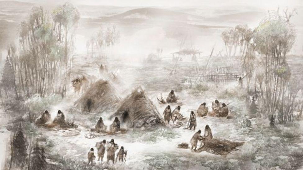 """Una ilustración que muestra como habrían vivido los """"beringios"""" en Upward Sun River. Ilustración: Eric. S. Carlson."""