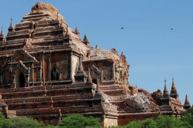 The top of the damaged Sulamani temple in Bagan on 25 August 2016