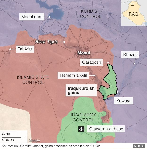 Map showing areas of control in Iraqi city of Mosul