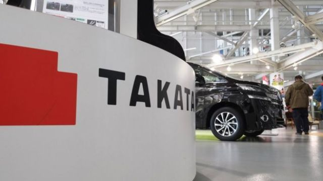 Takata logo in a car showroom