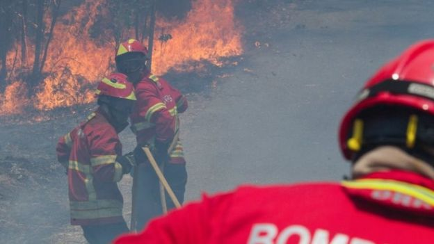 Firefighters battle a forest fire in Figueiro dos Vinhos, central Portugal, 18 June 2017.