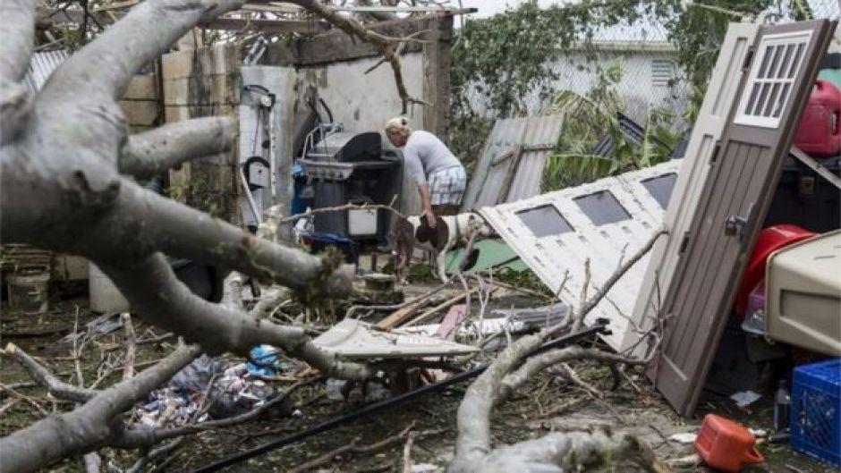 Una mujer con su perro recorre lo que quedó de su casa en Puerto Rico.