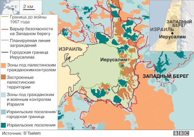Карта Иерусалима
