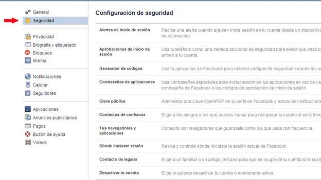 Pantalla de Facebook con opción Seguridad