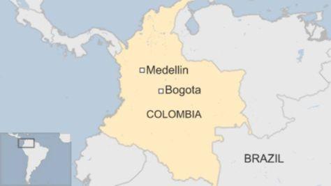 墜落現場に近いメデジン(Medellin)の位置