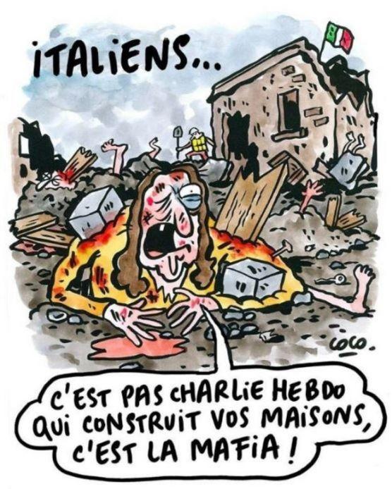 Caricatura que muestra a un hombre herido entre escombros diciendo: