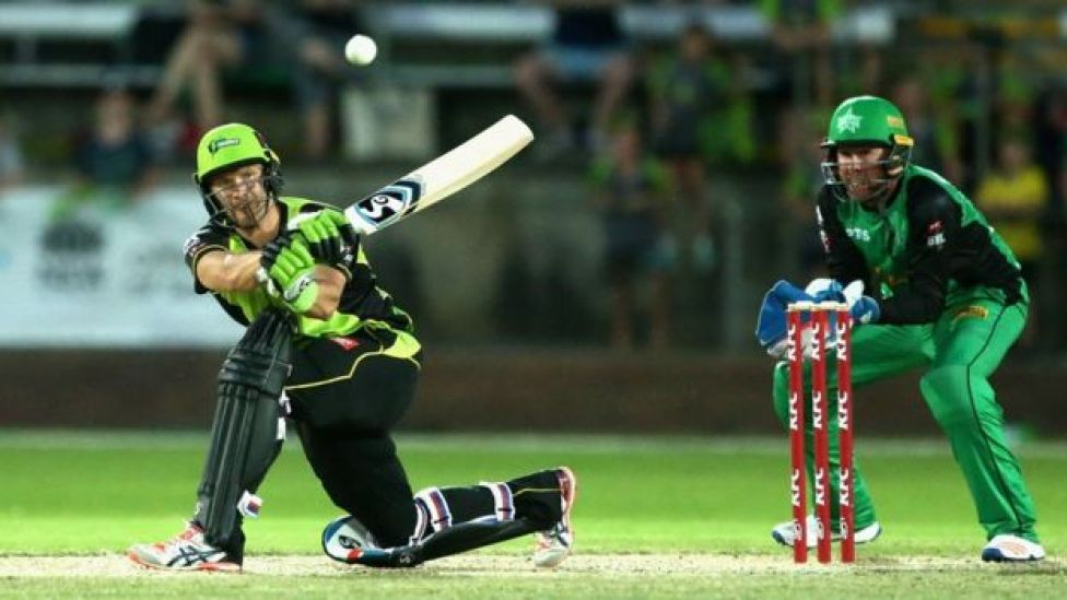 Shane Watson of the Sydney Thunder plays a shot during the Big Bash League exhibition match between the Melbourne Stars and the Sydney Thunder at Lavington Sports Ground on December 12, 2017