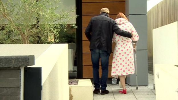 Harry escorts Sandra back from hospital to their home in Sandbanks
