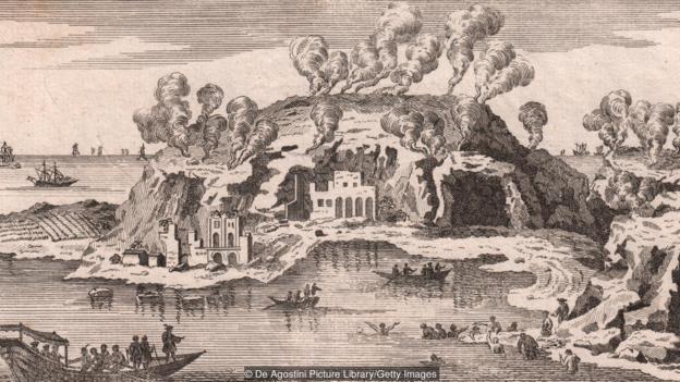 Un dibujo antiguo con una imagen de Baia.