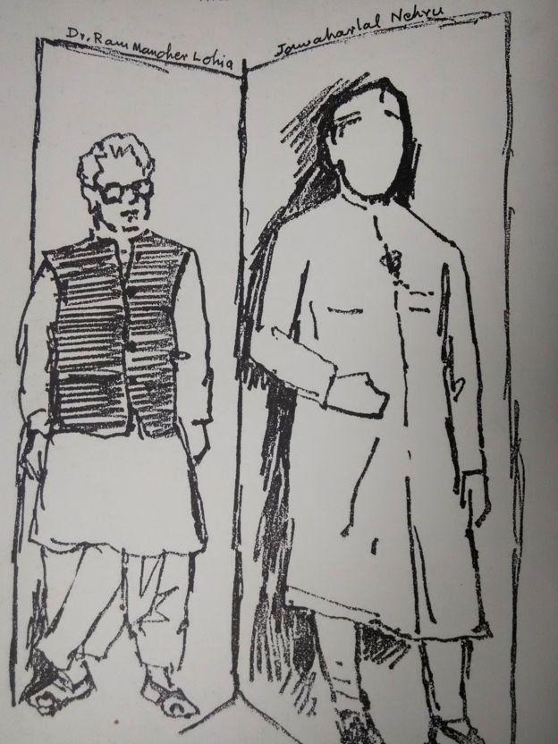 हुसेन की पेंटिंग- लोहिया- नेहरू
