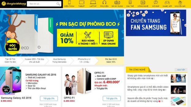 Screengrab of The Gioi Di Dong website