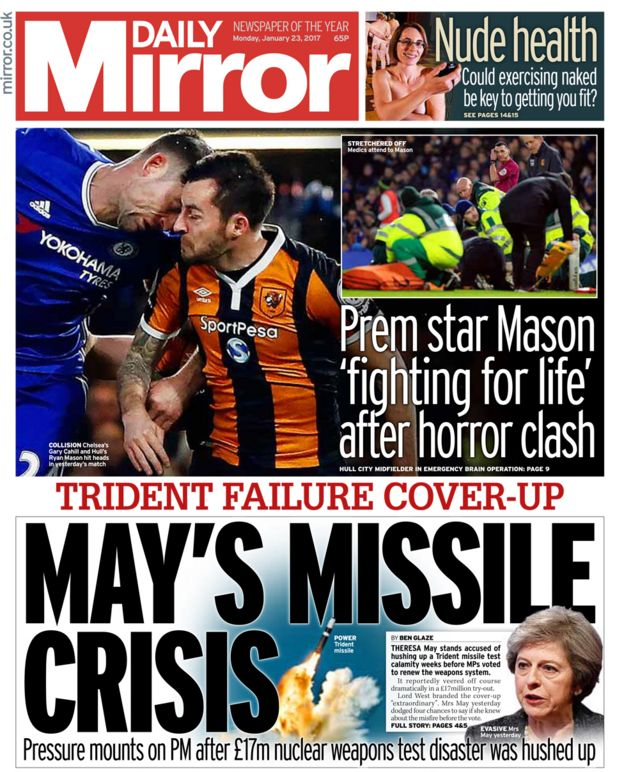 Daily Mirror front page - 23/01/17